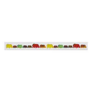 Fourteen Hippos Marching Poster