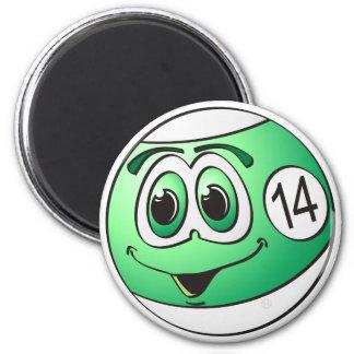 Fourteen Pool Ball Cartoon 2 Inch Round Magnet