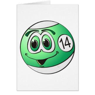 Fourteen Pool Ball Cartoon Greeting Card