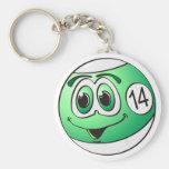 Fourteen Pool Ball Cartoon Basic Round Button Keychain