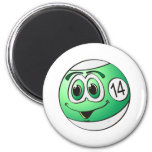 Fourteen Pool Ball Cartoon Refrigerator Magnets