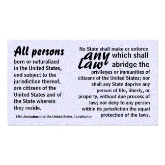 Fourteenth Amendment trivia cards Business Cards