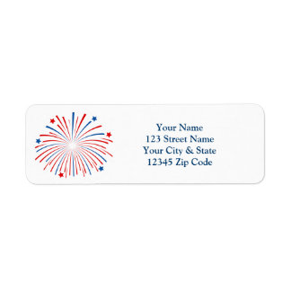 Fourth 4th of July fireworks return address labels