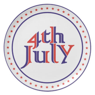 Fourth 4th of July red blue text design Melamine Plate