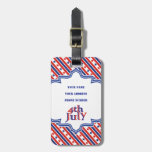 Fourth 4th Of July text design & border with stars Luggage Tags