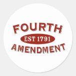 Fourth Amendment Est 1791 Classic Round Sticker