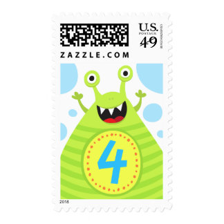 Fourth birthday funny green monster postage stamp