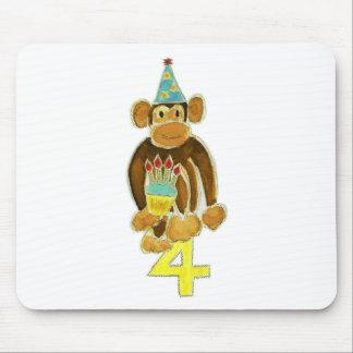 Fourth Birthday Monkey Mouse Pad