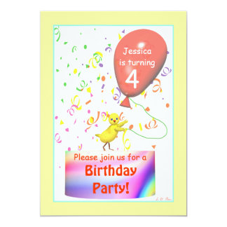 Fourth Birthday Party Chicken Card
