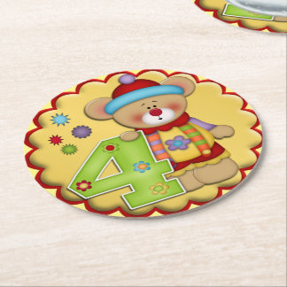 Fourth Birthday Party Clown Bear Paper Coasters