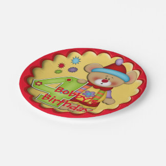 Fourth Birthday Party Clown Bear Paper Plates