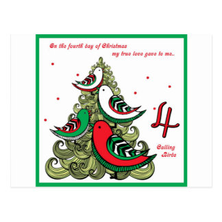 Fourth Day of Christmas Postcard