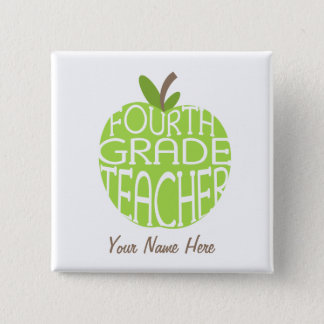 Fourth Grade Teacher Button - Green Apple