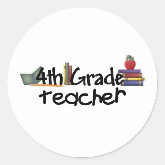 Fourth Grade Teacher Classic Round Sticker