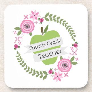 Fourth Grade Teacher Green Apple Floral Wreath Beverage Coasters