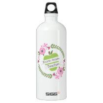 Fourth Grade Teacher Green Apple Floral Wreath Water Bottle