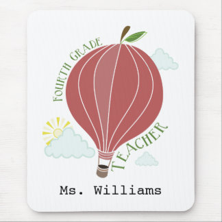 Fourth Grade Teacher Hot Air Balloon Apple Mouse Pad