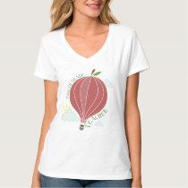 Fourth Grade Teacher Hot Air Balloon Apple T-Shirt