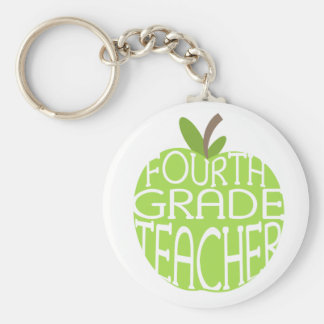 Fourth Grade Teacher Keychain - Green Apple