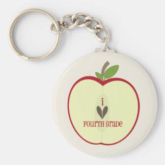 Fourth Grade Teacher Keychain - Red Apple Half