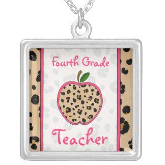 Fourth Grade Teacher Leopard Print Apple Necklace