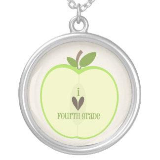 Fourth Grade Teacher Necklace - Green Apple Half