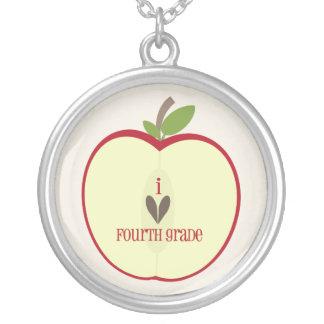 Fourth Grade Teacher Necklace - Red Apple Half