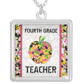 Fourth Grade Teacher Paint Splatter Apple Necklace