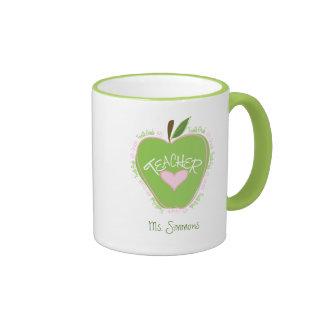 Fourth Grade Teacher Pink and Green Apple Ringer Mug
