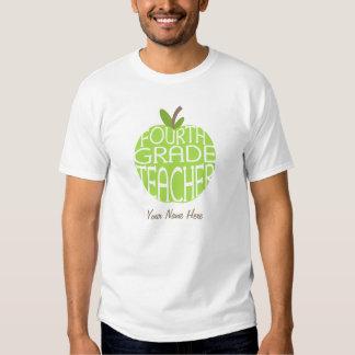 Fourth Grade Teacher T Shirt - Green Apple