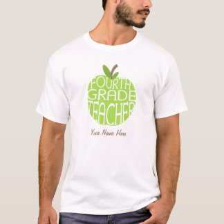 Fourth Grade Teacher T Shirt - Green Apple