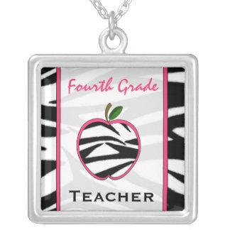 Fourth Grade Teacher Zebra Print Apple Necklace