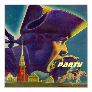 FOURTH OF JULY 4TH PAUL REVERE PARTY INVITATION at Zazzle