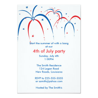 Fourth of July 5x7 Paper Invitation Card