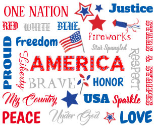 decf9fa1c45a Fourth of July America USA Words Personalized Text Thermal Tumbler