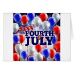 Fourth of July American Flag Balloons Background Card