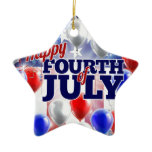 Fourth of July American Flag Balloons Background Ceramic Ornament