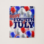 Fourth of July American Flag Balloons Background Jigsaw Puzzle