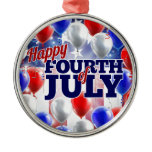 Fourth of July American Flag Balloons Background Metal Ornament