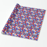 Fourth of July American Flag Balloons Background Wrapping Paper