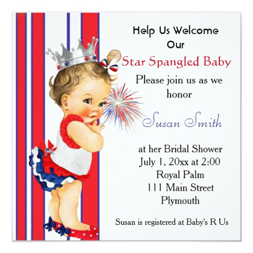 May The Fourth Be With You Baby Shower: Fourth Of July Baby Shower Invitation