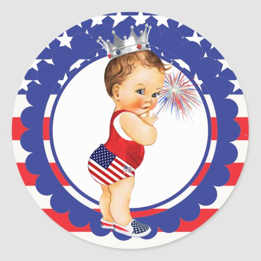 May The Fourth Be With You Baby Shower: Fourth Of July Baby Shower Sticker Vintage Baby