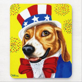 Fourth of July Beagle Dog Mouse Pad