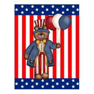 Fourth Of July Bear Postcard