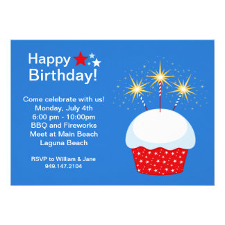 Fourth of July Birhday Party Invitation