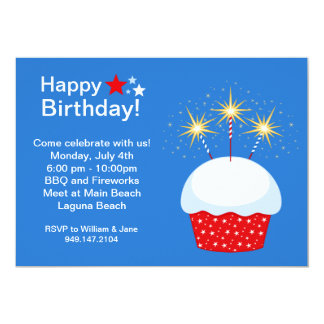 "Fourth of July Birhday Party Invitation 5"" X 7"" Invitation Card"