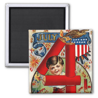 Fourth of July Boy with Fireworks 2 Inch Square Magnet