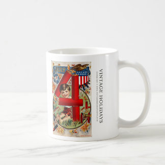 Fourth of July Boy with Fireworks Coffee Mugs