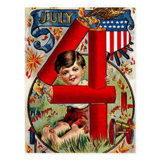 Fourth of July Boy with Fireworks Postcard