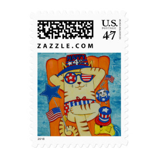 Fourth of July Cat in Hat with Mouse and Fish Postage Stamp